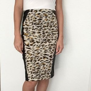 Mustard Seed Midi Skirt Leopard/Pu Leather-Sm